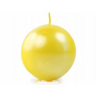 Sviečka guľa žltá metalická