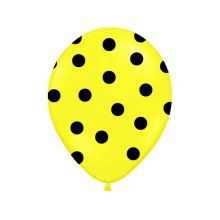 Balón s bodkami Pastel - žltá a čierna farba