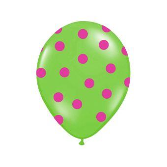 Balón s bodkami Pastel - zelená a ružová farba