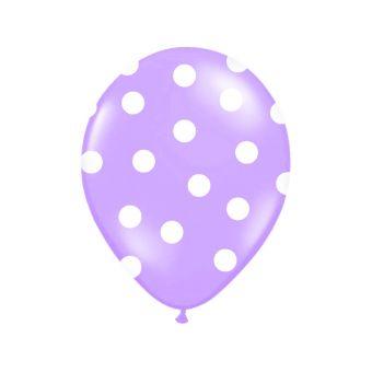 Balón s bodkami Pastel - fialová a biela farba