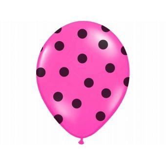 Balón Pastel cyklamenový - čierne bodky
