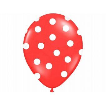 Balón s bodkami Pastel - červená a biela farba