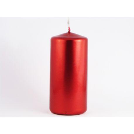 Sviečka valec 50/100 červená metalická